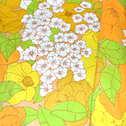 1960s Burlington ~ Orange & Yellow Hibiscus Flower No Iron Full Flat Sheet