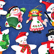 1980s Set of 7 Folk Art Style Christmas Ornaments