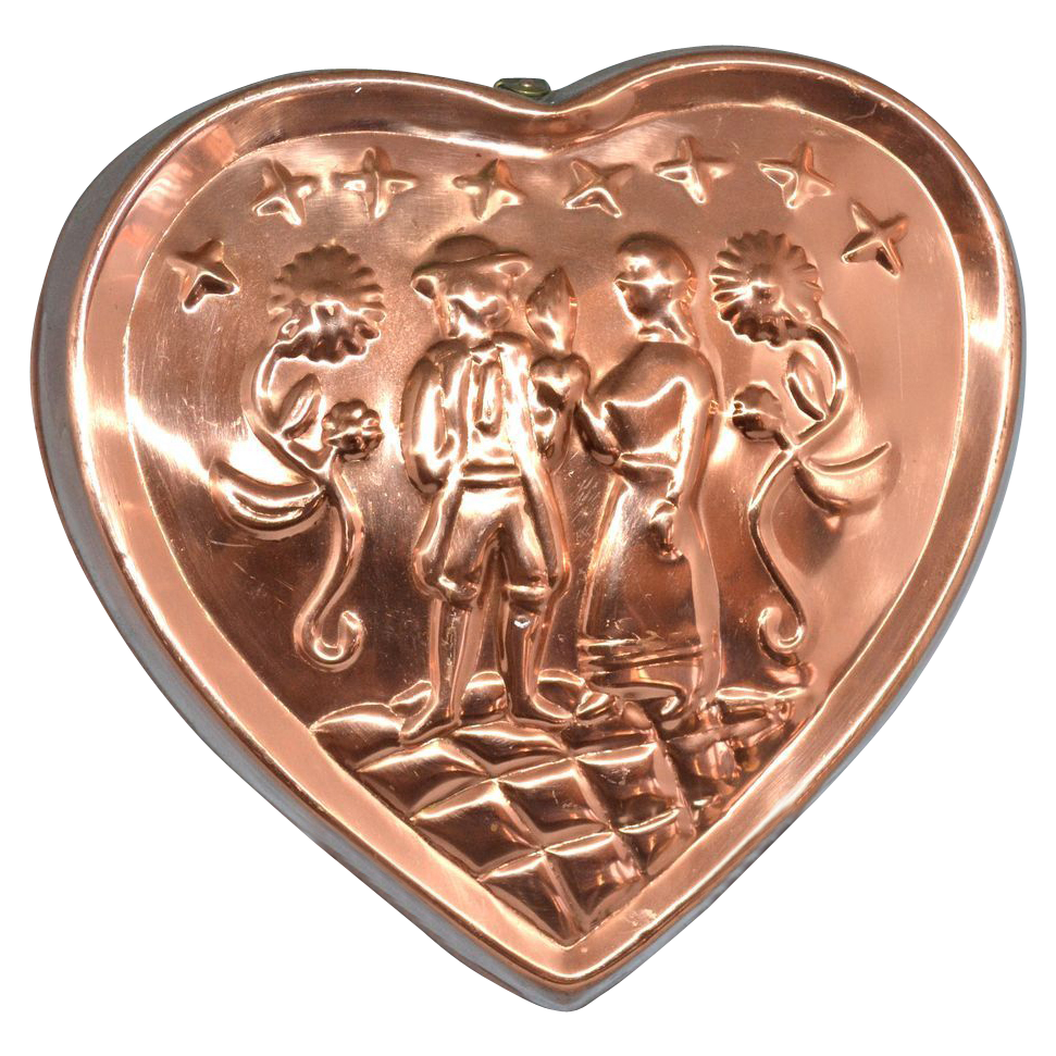 Benjamin Amp Medwin Solid Copper Colonial Floral Heart
