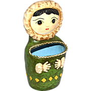 1960s Snow Girl Paper Mache String Holder
