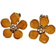 1960s Gold Enamel Flower Clip Earrings