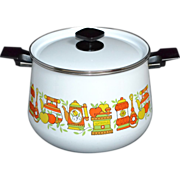1950/60s White Ceramic Enamel Stock Pot with Lid ~ Cute Graphics!