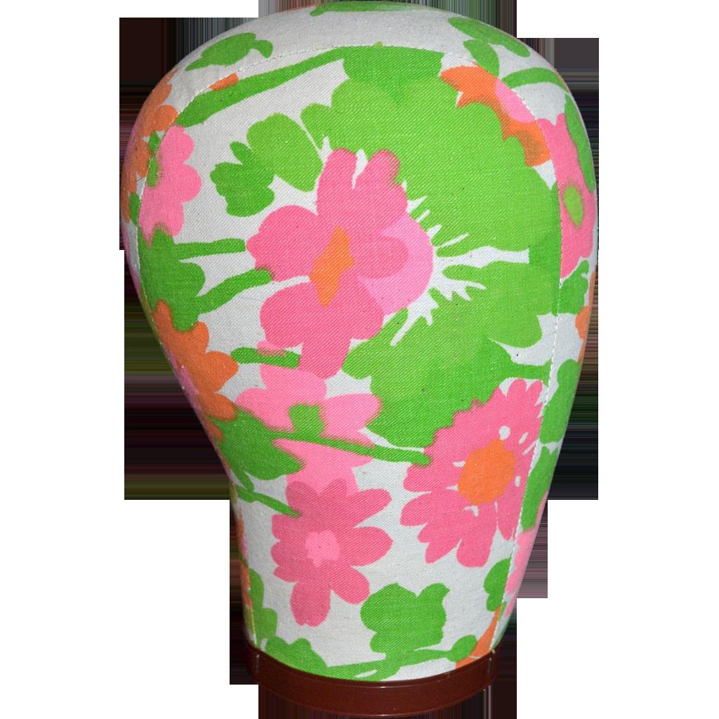 1960s Pink Amp Orange Flower Power Fabric Mannequin Head Kitsch Amp Couture Ruby Lane
