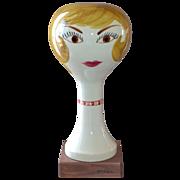 1960s Stangl ~ Blonde Girl Ceramic Wig Head/Sculpture on Wood Base