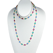 "Swarovski ~ 35"" Long Multi-Colored Crystal Necklace"