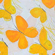 1970s Vera ~ Yellow Butterfly No-Iron Full Fitted Sheet & Queen Pillowcase