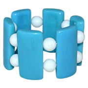 Chunky Caribbean Blue Lucite Stretch Bracelet