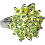 Sterling & Peridot Cluster Cocktail Ring ~ Size 6.75
