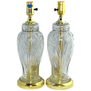 Set of 2 Excelsior Molded Cut Glass Table Lamps