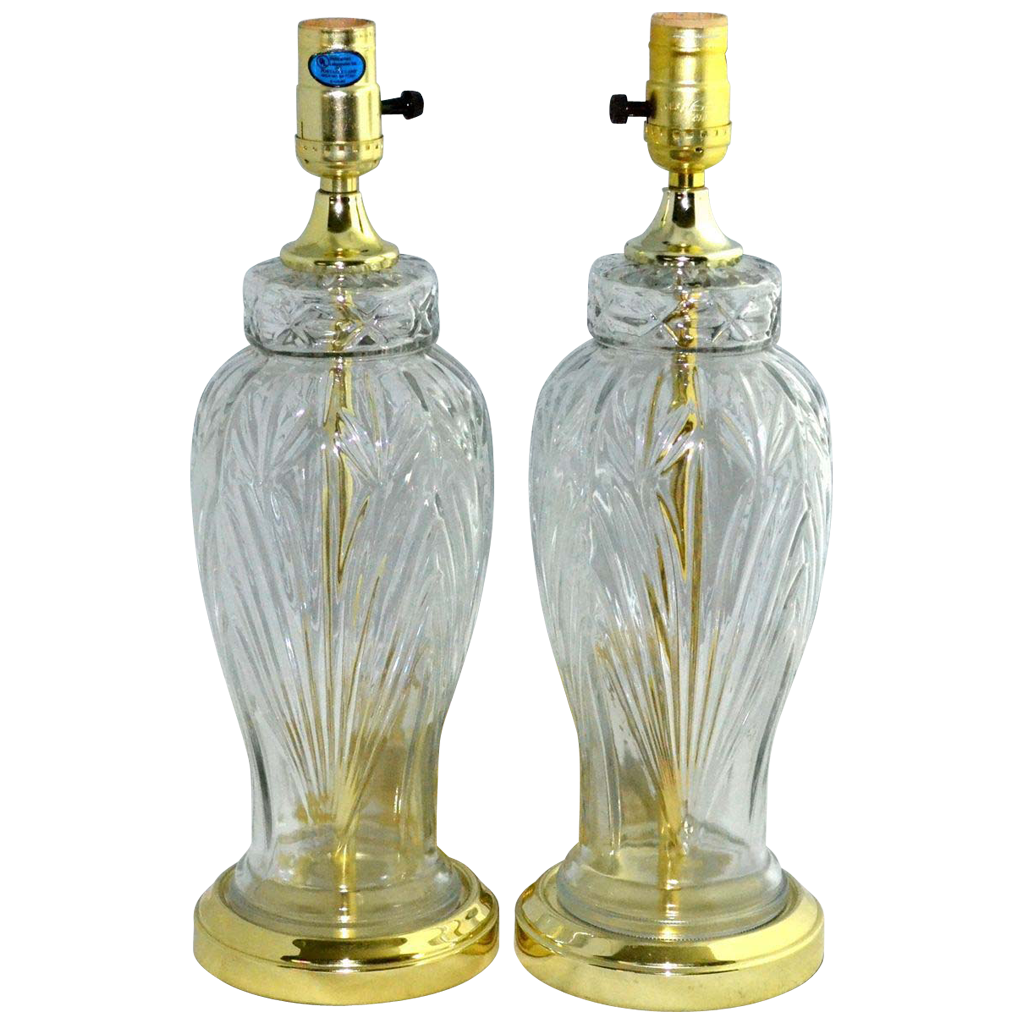Set of 2 Excelsior Molded Cut Glass Table Lamps from
