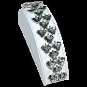 Vintage BSK ~ Blue Aurora Borealis Flower Silvertone Link Bracelet