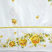 1960s Springmaid ~ 3-Pc Yellow Rose Embroidery Trim Twin Sheet Set