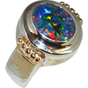 Sterling & 14K Gold Chunky Faux Opal Ring