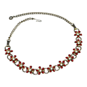 Red Enamel Rhinestone Flower Bookchain Choker Necklace