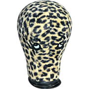 1960s Leopard Print Fur Fabric Rhinestone 'Eyes & Lips' Mannequin Head