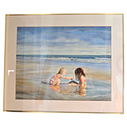 "Huge 34"" Original Watercolor 'Sea Side Sisters' by Artist Susan Marion Framed Painting"