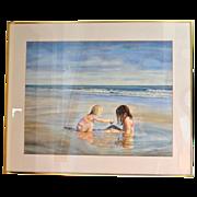 """Huge 34"""" Original Watercolor 'Sea Side Sisters' by Artist Susan Marion Framed Painting"""