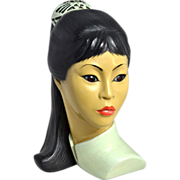 1965 Marwal ~ Beautiful Asian Girl Ceramic Bust Sculpture