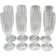 Set of 8 Lead Crystal Fluted Diamond-Cut Champagne Glasses