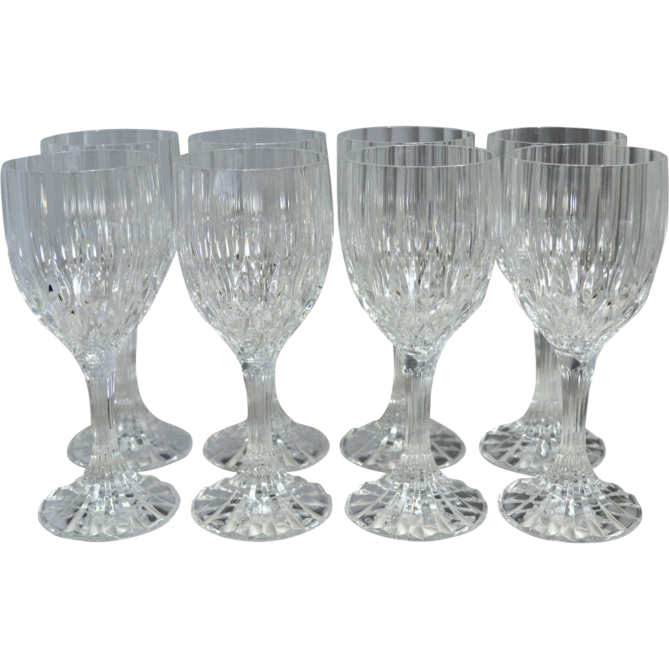 Set of 8 lead crystal fluted diamond cut wine glasses sold on ruby lane - Fluted wine glasses ...