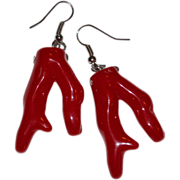 Chunky Red Faux Coral Dangle Earrings