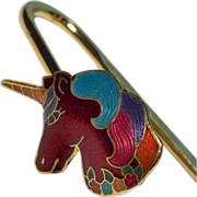 Enamel Unicorn Shepherd's Hook Bookmark