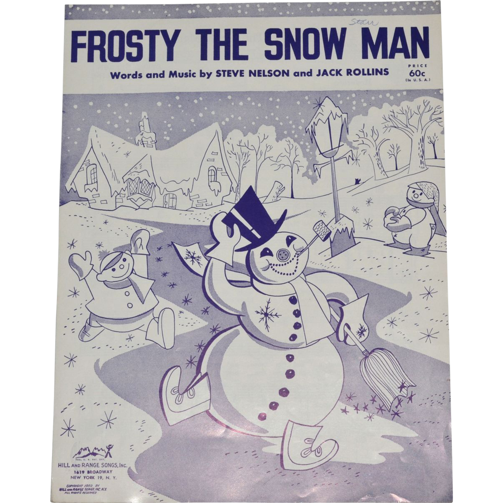 It's just a picture of Unusual Vintage Christmas Sheet Music Printable,frosty the Snowman