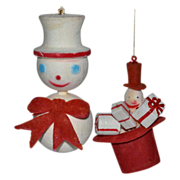 1960s Set of 2 Flocked Velvet Snowmen Christmas Ornaments