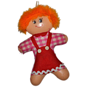 1960s Gingerbread Man (Girl!) with Orange Hair Christmas Ornament