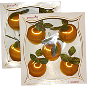 Pyramid ~ Set of 10 Satin Peach w/ Green Velvet Leaf Ornaments in Original Boxes