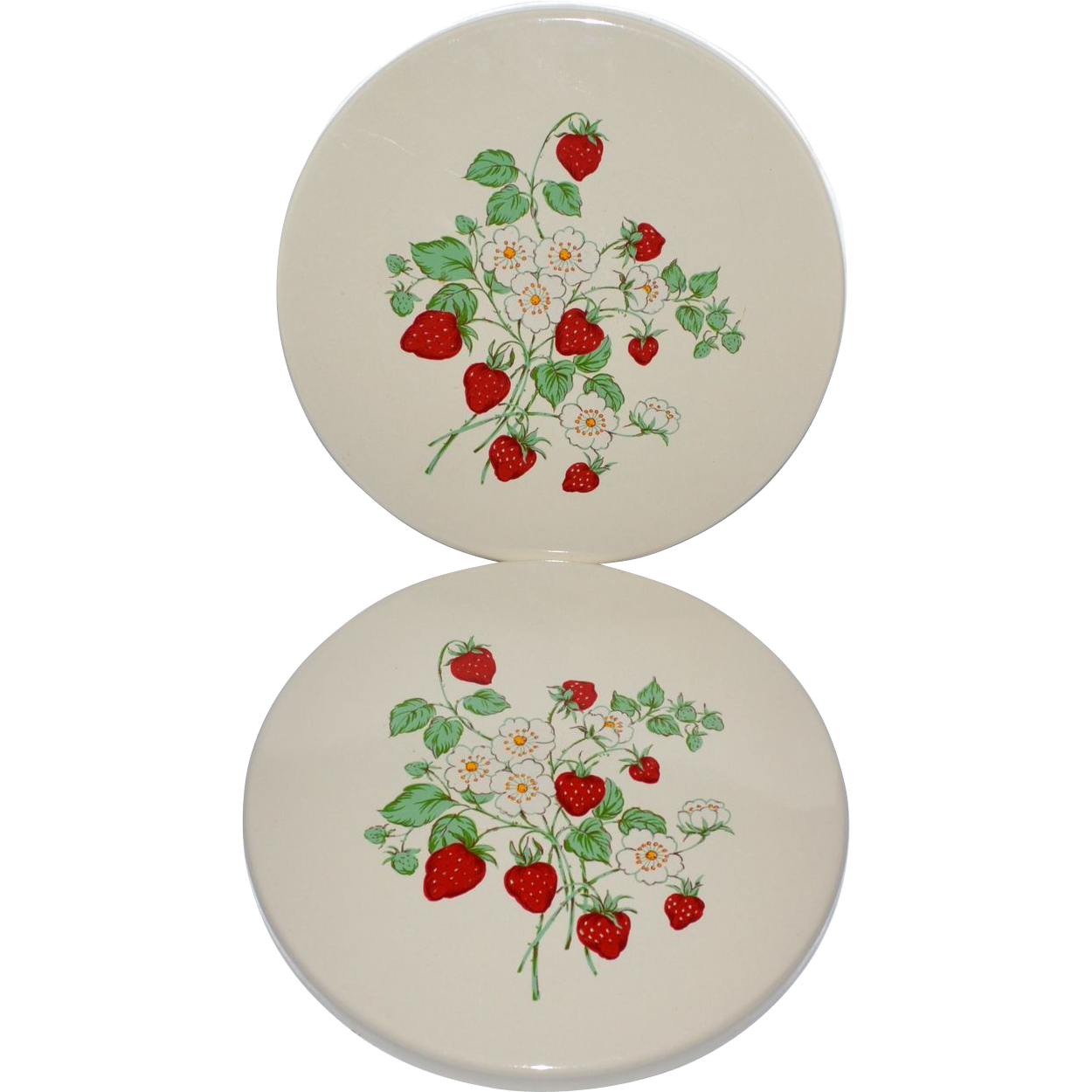 Set Of 2 Porcelain Enamel Strawberry Field 10 Quot Stove