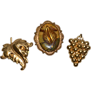 1960s Set of 3 Brass Goldtone Button Covers