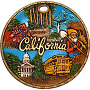 1960s Colorful California Ceramic 3D Souvenir Plate