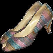 1960s Mr. J. Andre ~ Striped Lilac & Blue Boucle Fabric Peep Toe Heels