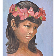 1950s Hawaiian Girl Original Oil on Board Painting