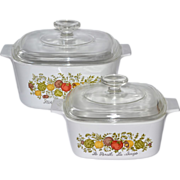 1970s Corning Ware 3 QT & 1.5 QT Spice of Life Covered Cookware/Casserole Dish Set