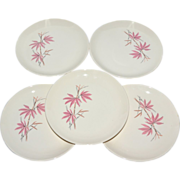 1963 Salem China Pink Bamboo ~ Set of 5 Salad Plates