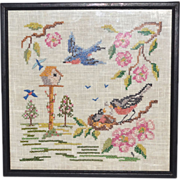 Cross-Stitch Embroidery Birds w/ Birdhouse & Flowers in Frame