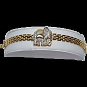 Good Luck Rhinestone Elephant Goldtone Link Bracelet