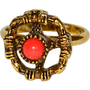 Vogue ~ Faux Pink Coral Celtic Cross Goldtone Ring