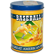 1989 Olive Can Co ~ Baseball The Great American Pastime Peanut Tin/Bank