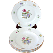 Europa Bouquet ~ 4-Pc Czech Porcelain Rimmed Bowl & Salad Plate Set