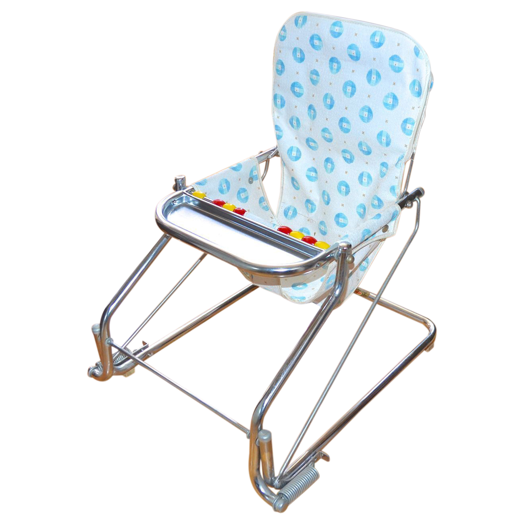 Bouncy chair baby - 1950s Taylor Tot Baby Bouncer W Abacus Chrome Aluminum Chair