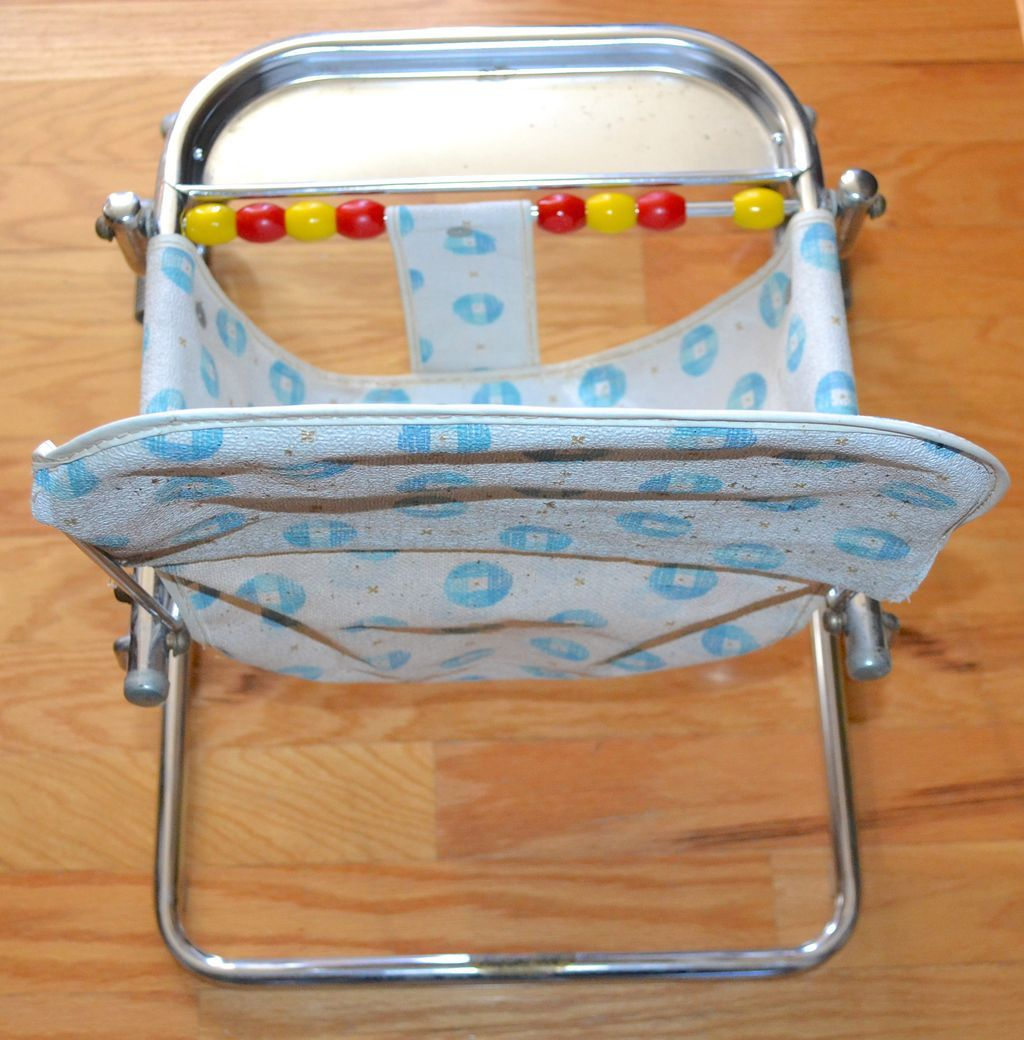1950s Taylor Tot Baby Bouncer W Abacus Chrome Aluminum