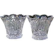 Studio Nova ~ Set of 2 Crystal Rose & Hobstar Votive Candleholders