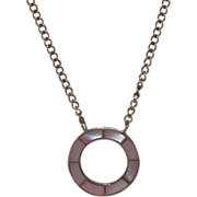 Sterling & Pink Mother of Pearl 'Journey' Pendant Necklace