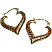 Signed 14K Gold Heart Hoop Italian Earrings