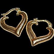 Signed 14K Gold Heart Hoop Italian Earrings