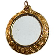 Round Glass Locket Goldtone Pendant/Charm