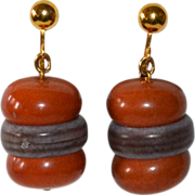 Kitsch Hamburger Dangle Clip Earrings